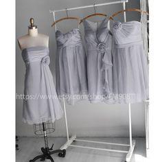 mix match style bridesmaid dresses / Romantic /pale pink / dresses /Fairy / Dreamy / Bridesmaid / Party / wedding / Bride (E002 Gray) via Etsy