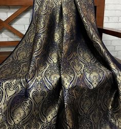 SALE Indian Silk Brocade Fabric Navy Blue and Gold Fabric,Wedding Indian brocade,Brocade by yard, dress fabric Gold Fabric, Wedding Fabric, Brocade Fabric, Embroidery Art, Dress Making, Fabric Design, Floral Design, Fashion Accessories, Navy Blue