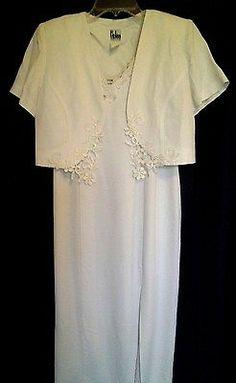 R. J. & Co Petite 2 Piece White Sheath Long Dress & Short Jacket Size 6P