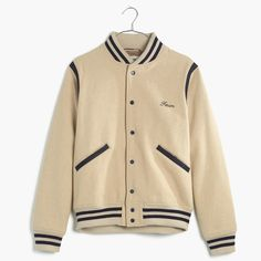 This cult-favorite, splurge-worthy label is known for its denim (the brand has turned expert fading and washing into an art form), but it also makes amazing non-denim pieces, like this snap-front wool bomber. With striped trim and slant pockets, this one is a low-key take on a traditional varsity jacket.  <ul><li>Unisex fit.</li><li>Wool/poly/acrylic/nylon.</li><li>Dry clean.</li><li>Import.</li></ul>