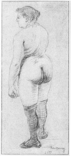 Rücken-Akt. Aus der Zeit, als Zille noch nicht selbständiger Künstler war. Diese Radierung, eine der neben seinem Broterwerb entstandenen Arbeiten, zeigt ihn schon abseits aller akademischen Süßigkeit.  Das Zillebuch von Heinrich Zille - Text im Projekt Gutenberg