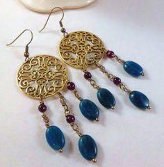 Beautiful apatite and garnet dangle earrings by EarthMotherJewels, $30.00