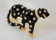 Cougar Brooch Black White Gold by Ladysfancys on Etsy