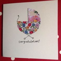 Handmade Baby Shower Card: Stampin Up Pregnancy Baby Congratulations Card, Sewing Cards, Fabric Cards, New Baby Cards, Baby Crafts, Creative Cards, Kids Cards, Homemade Cards, Making Ideas