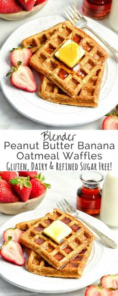 These Blender Peanut Butter Banana Oatmeal Waffles are a delicious healthy breakfast recipe! They are gluten-free, dairy-free, refined sugar free and have no butter or oil!  via @joyfoodsunshine
