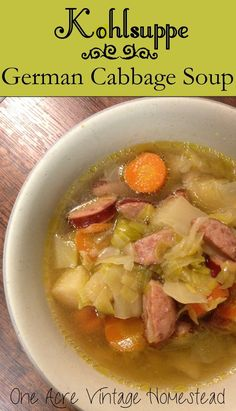 Delicious Slow Cooker German Cabbage Soup called Kohlsuppe which is great for the fall and winter months from One Acre Vintage Homestead soup healthy recipes rezepte soup soup Slow Cooker Recipes, Crockpot Recipes, Cooking Recipes, Healthy Recipes, German Food Recipes, Cooking Games, German Desserts, French Recipes, Ham Recipes