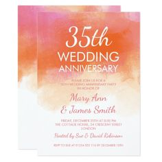 Shop Wedding Anniversary Pink Coral Watercolor Invitation created by Personalize it with photos & text or purchase as is! 35th Wedding Anniversary Gift, Anniversary Party Invitations, Anniversary Decorations, Pink Wedding Invitations, Wedding Invitation Design, Anniversary Parties, Coral Party, Coral Watercolor, Watercolor Invitations