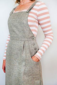 The Pippi Pinafore - Pippi dungaree dress pattern Source by - Dungaree Dress, Dungarees, Overalls, Dress Patterns, Sewing Patterns, Clothes Patterns, Sewing Clothes, Weekend Dresses, Tights And Boots