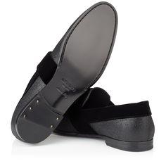 The Jimmy Choo Men's JOHN black fine glitter slippers with black velvet ribbon