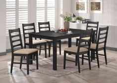 7 Pc. Set Black Finish Wood Dining Room Kitchen Set Table & 6 Chairs by Kings Brand Furniture. $559.99