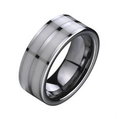 Silvery White Tungsten Wedding Ring Inlaid Double Ceramic