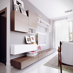 sleek wall shelving