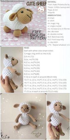 Elegante Amigurumi Cute Sheep Free Instruction - Crochet.msa.plus  #amigurumi #crochet #instruction #sheep