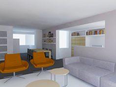 Berns Interieur-architectuur | Prj Indeling woonkamer en werkplek