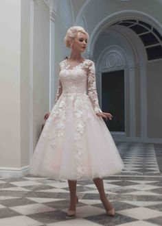 Luxurious Tea Length Illusion Tulle A Line Wedding Dress Ahm0017