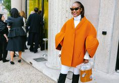 Michelle Elie in a Delpozo coat