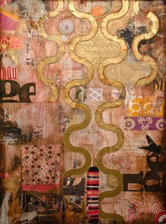 "Jill Ricci. ""Hugh"", mm on canvas, 36x48"" #art #collage #paintings"