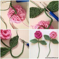 Crochet rose bookmark (pattern is in Sweedish)