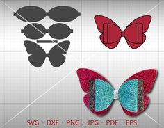Butterfly sheet SVG, DIY bow cut file, leather hair accessories, the vector … - Hair Bows DIY Making Hair Bows, Diy Hair Bows, Diy Bow, Bow Template, Butterfly Template, Templates, Cricut, Felt Hair Clips, Bow Pattern