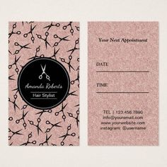 Shop Hair Salon Modern Scissor Rose Gold Appointment created by cardfactory. Beauty Business Cards, Salon Business Cards, Hairstylist Business Cards, Simple Business Cards, Home Hair Salons, Hair Salon Interior, Salon Price List, Hair Salon Logos, Business Hairstyles