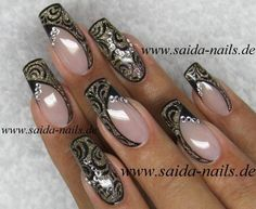 Black and Gold Evening Nail Art Sexy Nails, Fancy Nails, Bling Nails, Glitter Nails, Fabulous Nails, Perfect Nails, Gorgeous Nails, Beautiful Nail Designs, Beautiful Nail Art