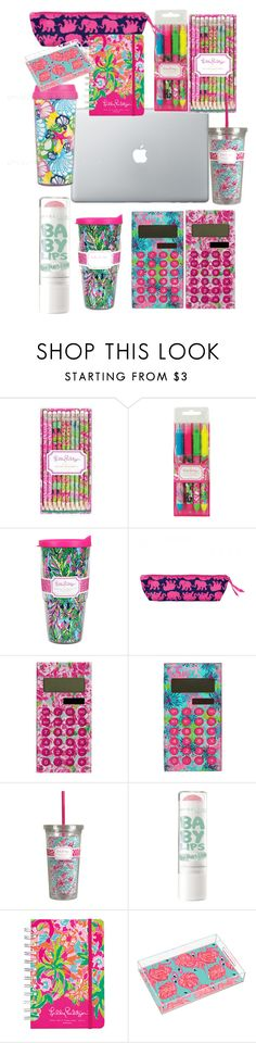 """lilly pulitzer school supplies"" by carolinebien ❤ liked on Polyvore featuring Lilly Pulitzer"