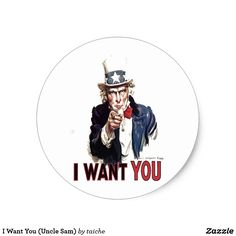 I Want You (Uncle Sam) Classic Round Sticker #50%Off #Stickers USE CODE: ZSUNSTEAL176 #IWantYou #UncleSam Classic Round Sticker https://www.zazzle.com/z/y24sv