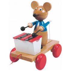 Купете Woody - Играчка за дърпане Мишка с ксилофон