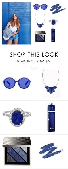 """""""Blue"""" by valemasii ❤ liked on Polyvore featuring Etnia Barcelona, Heroldian Jewellery, Christian Dior, Burberry and BHCosmetics"""