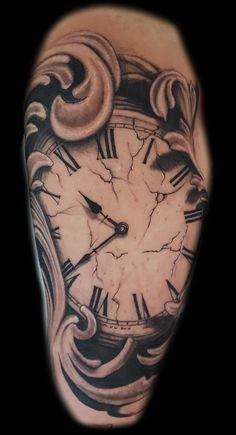 Forearm clock tattoo sleeve