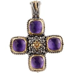 Konstantino Erato Amethyst Doublet Cross Pendant Enhancer (€855) ❤ liked on Polyvore featuring jewelry, pendants, purple, cross charm, purple amethyst jewelry, purple pendant, handcrafted jewellery and cabochon jewelry