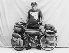 "80,000 Miles Man  Bruce ""Ole"" Ohlson first toured in 1971 and since had ridden the perimeters of the U.S. and Australia, TransCanada and Alaska highways and traveled the U.S. and world ""numerous times"".  © Copyright 1997-2013 Adventure Cycling Association. Photo by Greg Siple."