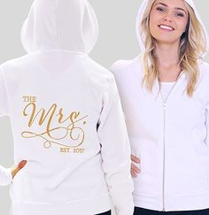 """""""The Mrs. EST"""" Gold Rhinestud Fleece Hoodie 
