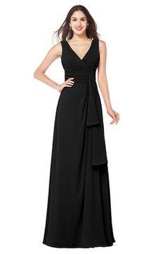 Navy Blue Romantic A-line V-neck Zip up Chiffon Floor Length Plus Size  Bridesmaid Dresses a1376de41