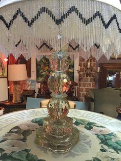 Hand Cut Mid-century Crystal Lamp with Beaded Shade