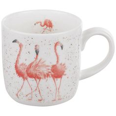 we 39 re all mad here stainless steel travel mug flamingo. Black Bedroom Furniture Sets. Home Design Ideas