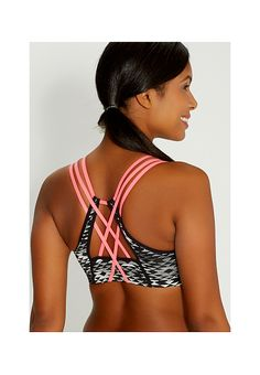 sport bra in ethnic print with neon straps | maurices
