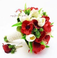Winter Wedding Bridal Bouquet Anemones Callas Tulips - Red White Bouquet Groom Boutonniere
