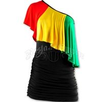 Rasta and Reggae Ruffle One Shoulder Short Dress