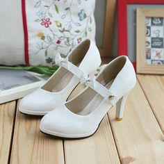 Sweet Bridal White A Buckle Belt Bowknot Spool Heel Patent Leather  Round Toe Pumps Shoes