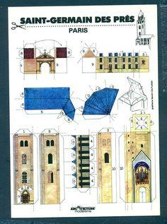 3-D Cut Out Postcard - Saint-Germain des Pres Paris