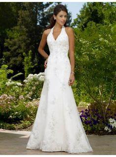 A-line Halter V-neck Applique Brush Train Wedding Dresses WE4059