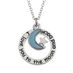 *UK* 925 SILVER PLT I LOVE YOU TO THE MOON AND BACK NECKLACE ROSE GOLD HEART