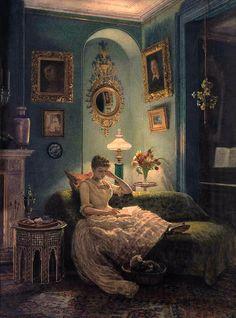 """""""Evening at home"""" (Edward John Poynter, UK, 1836-1919)"""