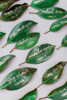 100 Insanely Creative Seating Cards and Displays Wedding Calligraphy Magnolia Leaf Place Cards / www Seating Cards, Before Wedding, Wedding Calligraphy, Gold Calligraphy, Wedding Seating, Reception Seating, Wedding Reception, Wedding Table Cards, Greek Wedding Theme