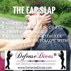 The Ear Slap can be done at arm's length before your attacker grabs you!  http://www.divasfordefense.com/self-defense-education1 #defensedivas #selfdefense #campussafety