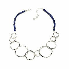 """Jay King Sterling Silver Lapis Bead 19-1/4"""" Necklace"""
