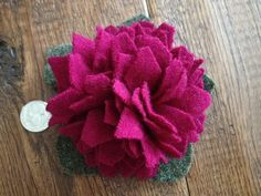 FUNDRAISER Susan G Komen West Michigan Race Star Gazer Lily Red Violet recycled upcycled wool flower pin by pinkamingo on Etsy, $0.20