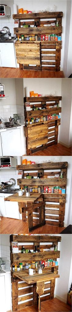 Save the area in the kitchen by creating the upcycled wood pallet spice shelving with the solid base. This eliminates the need of a space beside the oven to place the spices, creating it is easy and nothing other than pallets is needed for it.