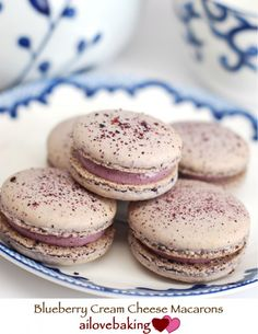 Blueberry Cream Cheese Macarons This may get me to try macarons agains!